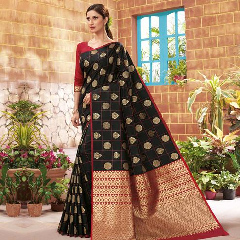 Energetic Black Colored Festive Wear Woven Silk Saree
