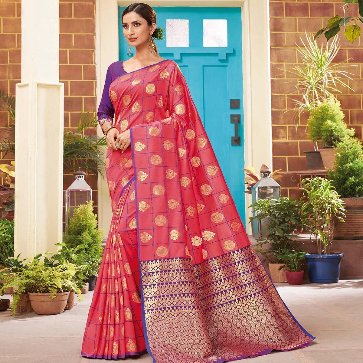 Gleaming Pink Colored Festive Wear Woven Silk Saree