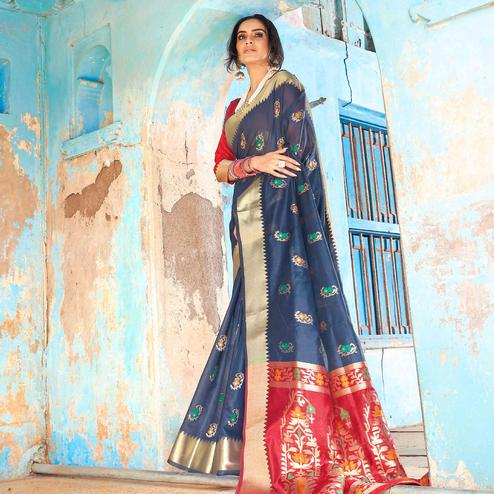 Magnetic Navy Blue Colored Festive Wear Woven Silk Saree With Tassels
