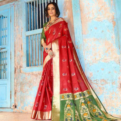 Hypnotic Red Colored Festive Wear Woven Silk Saree With Tassels