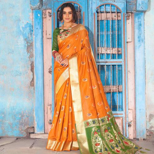 Excellent Orange Colored Festive Wear Woven Silk Saree With Tassels