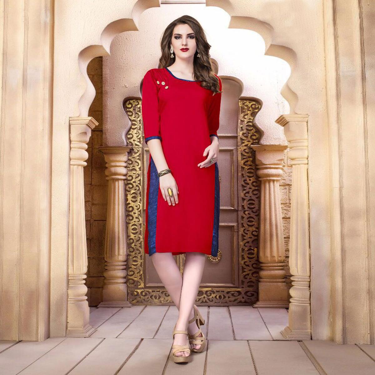 Red Designer Casual Wear Pure Rayon Cotton Kurti