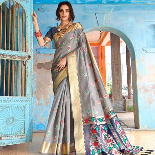 Marvellous Grey Colored Festive Wear Woven Silk Saree With Tassels