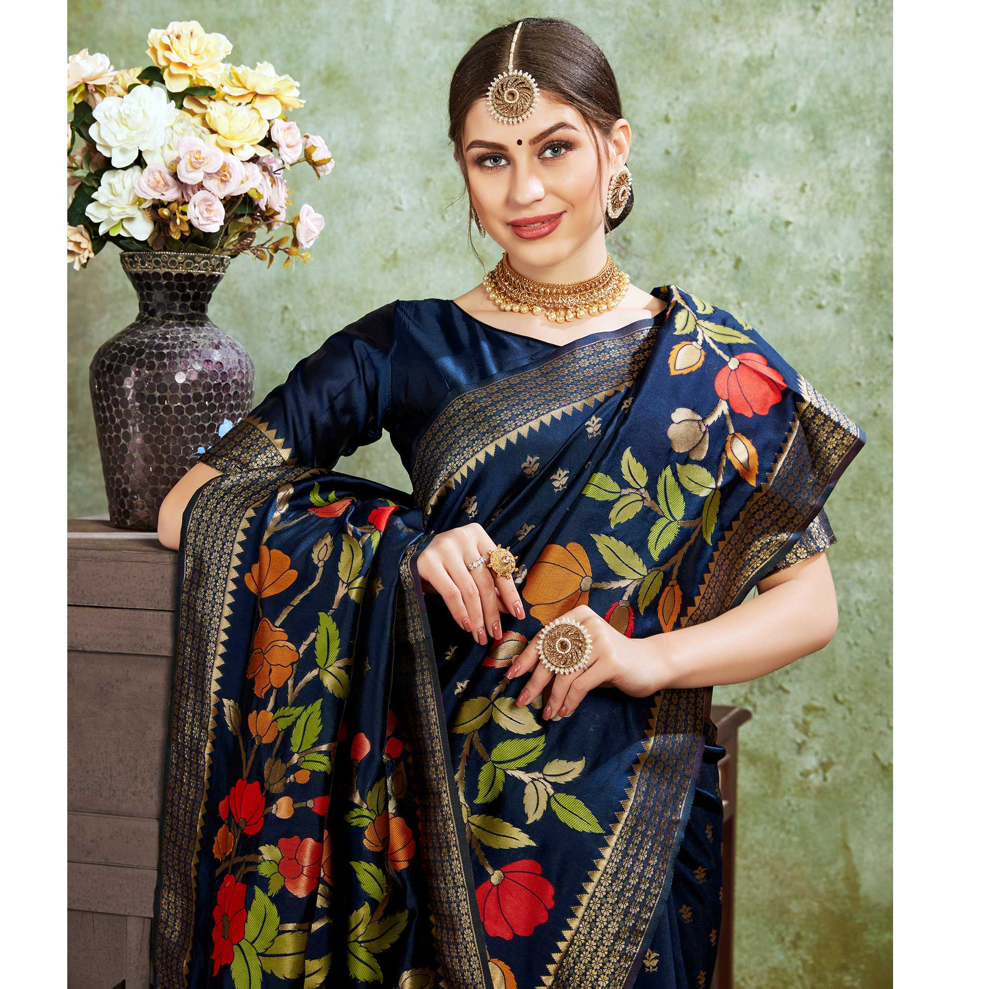 Fantastic Navy Blue Colored Festive Wear Woven Silk Saree