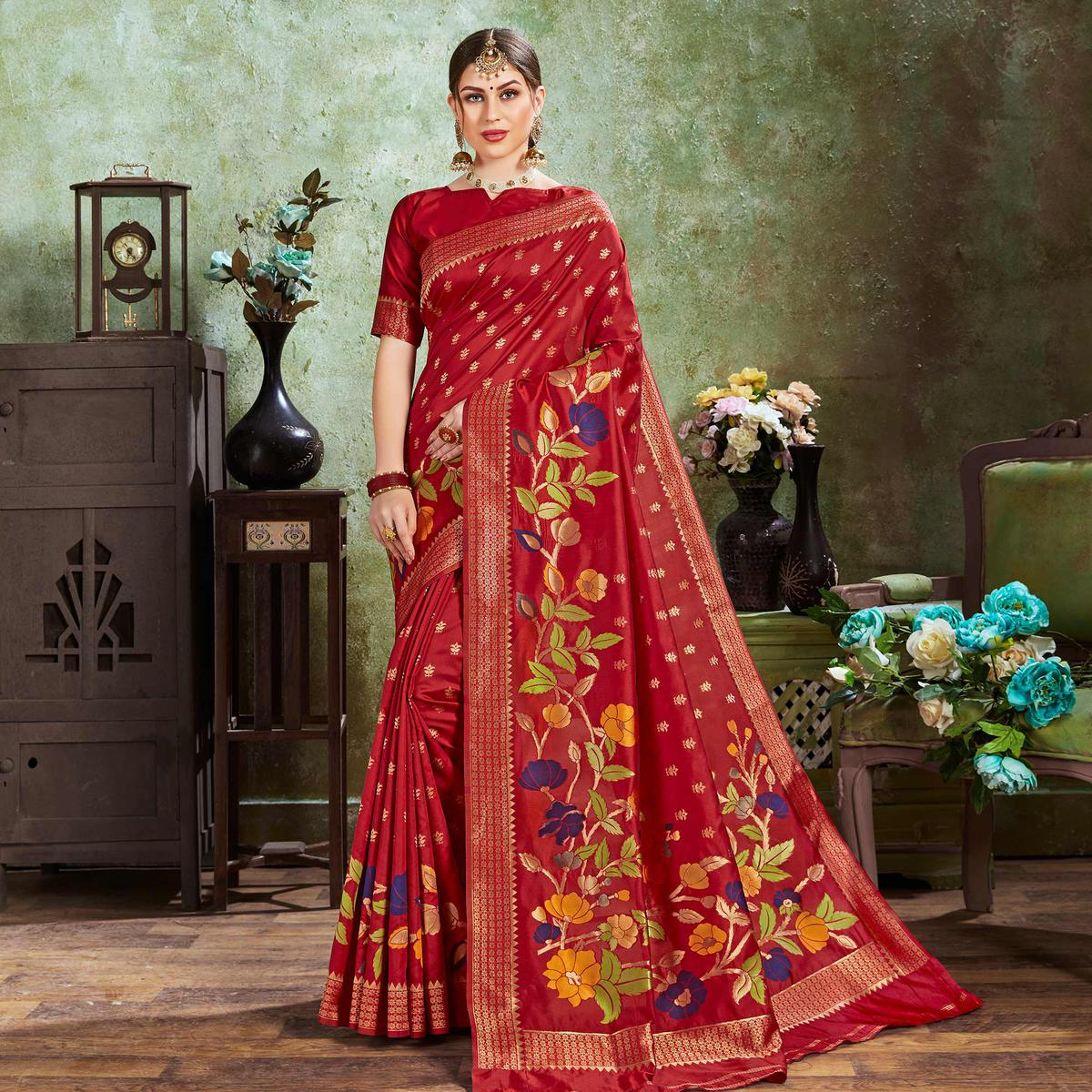 Amazing Red Colored Festive Wear Woven Silk Saree