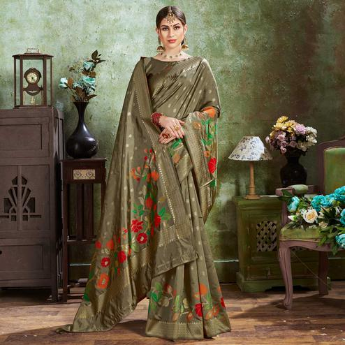 Gorgeous Grey Colored Festive Wear Woven Silk Saree