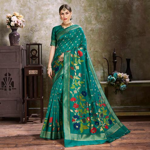 Imposing Rama Green Colored Festive Wear Woven Silk Saree