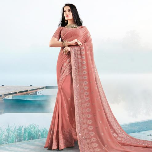 Refreshing Dark Peach Colored Partywear Embroidered Georgette Saree