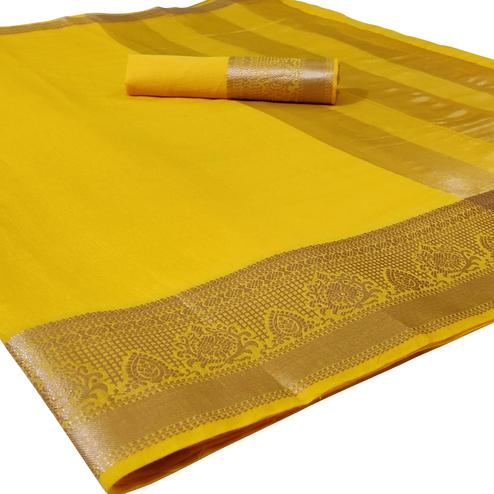Impressive Yellow Colored Festive Wear Woven Silk Saree