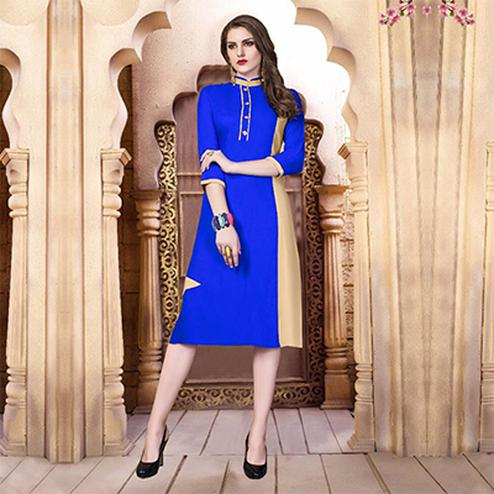 Dark Blue Designer Casual Wear Pure Rayon Cotton Kurti