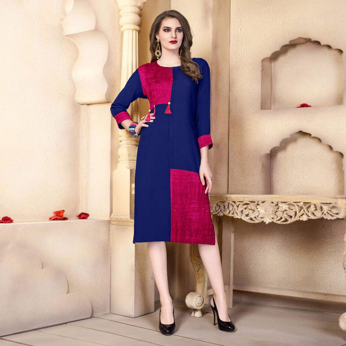 Navy Blue-Maroon Designer Casual Wear Pure Rayon Cotton Kurti