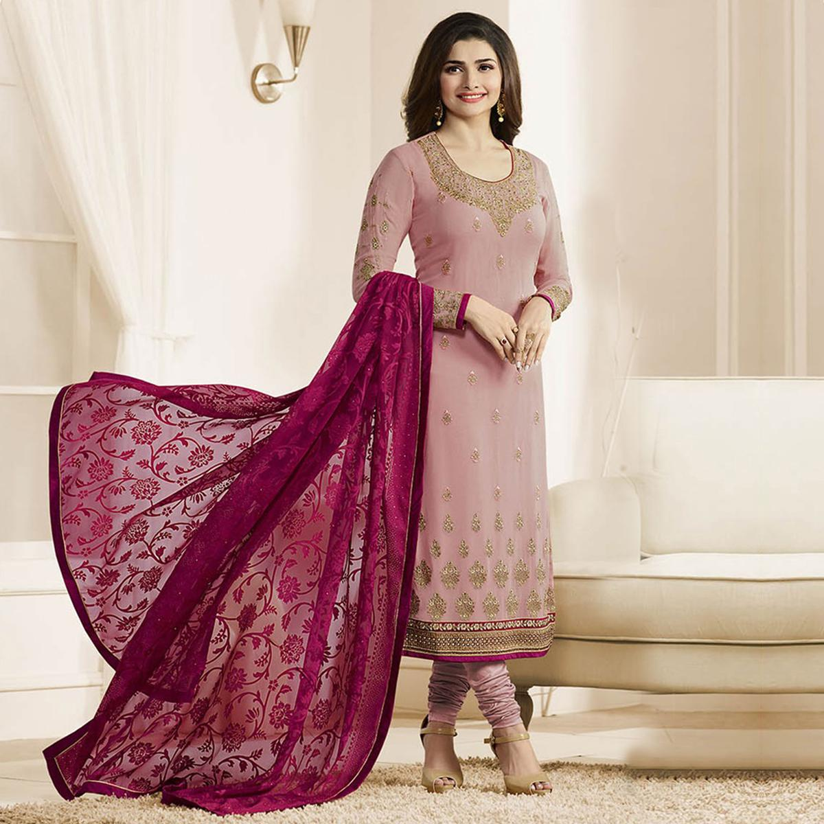 Pink Embroidered Work Round Neck Churidar Suit