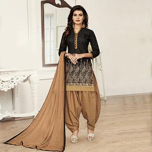Black Partywear Designer Embroidered Pure Cotton Dress Material