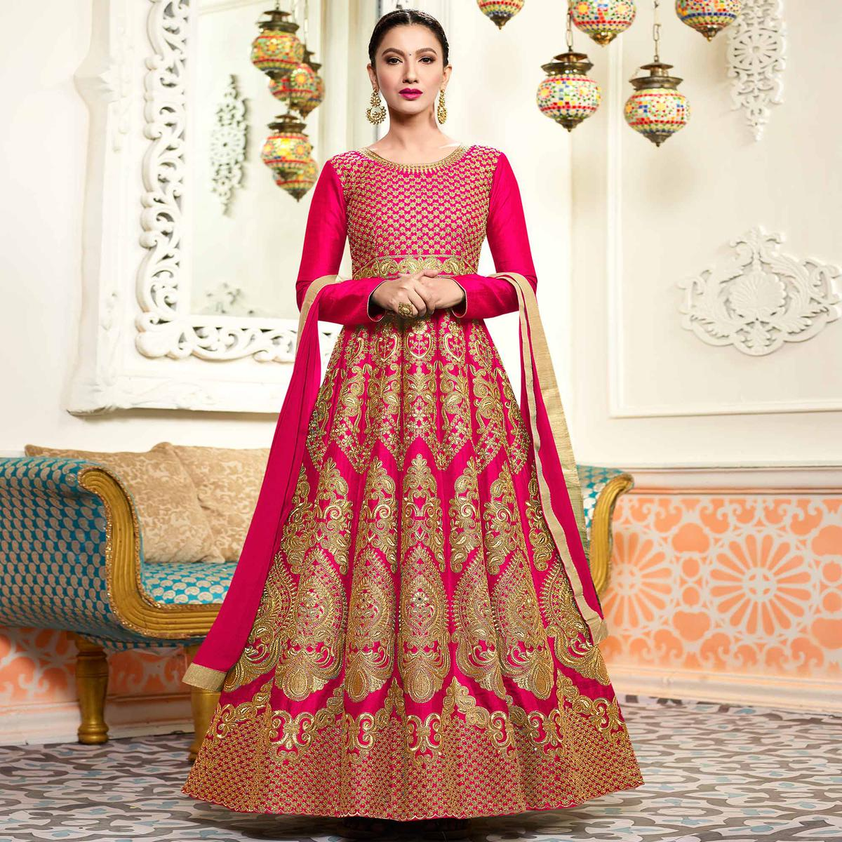 a409f60dca7 Buy Stunning Pink Designer Embroidered Partywear Two Tone Mulberry Silk  Anarkali Suit for womens online India, Best Prices, Reviews - Peachmode