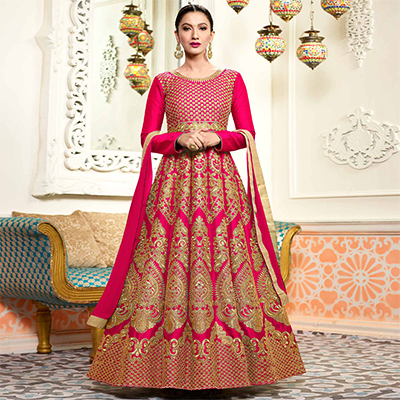 Stunning Pink Designer Embroidered Partywear Two Tone Mulberry Silk Abaya Style Anarkali Suit
