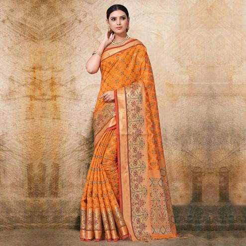 Elegant Yellow Colored Festive Wear Woven Banarasi Silk Saree