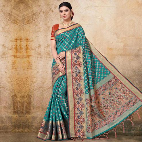Radiant Rama Green Colored Festive Wear Woven Banarasi Silk Saree