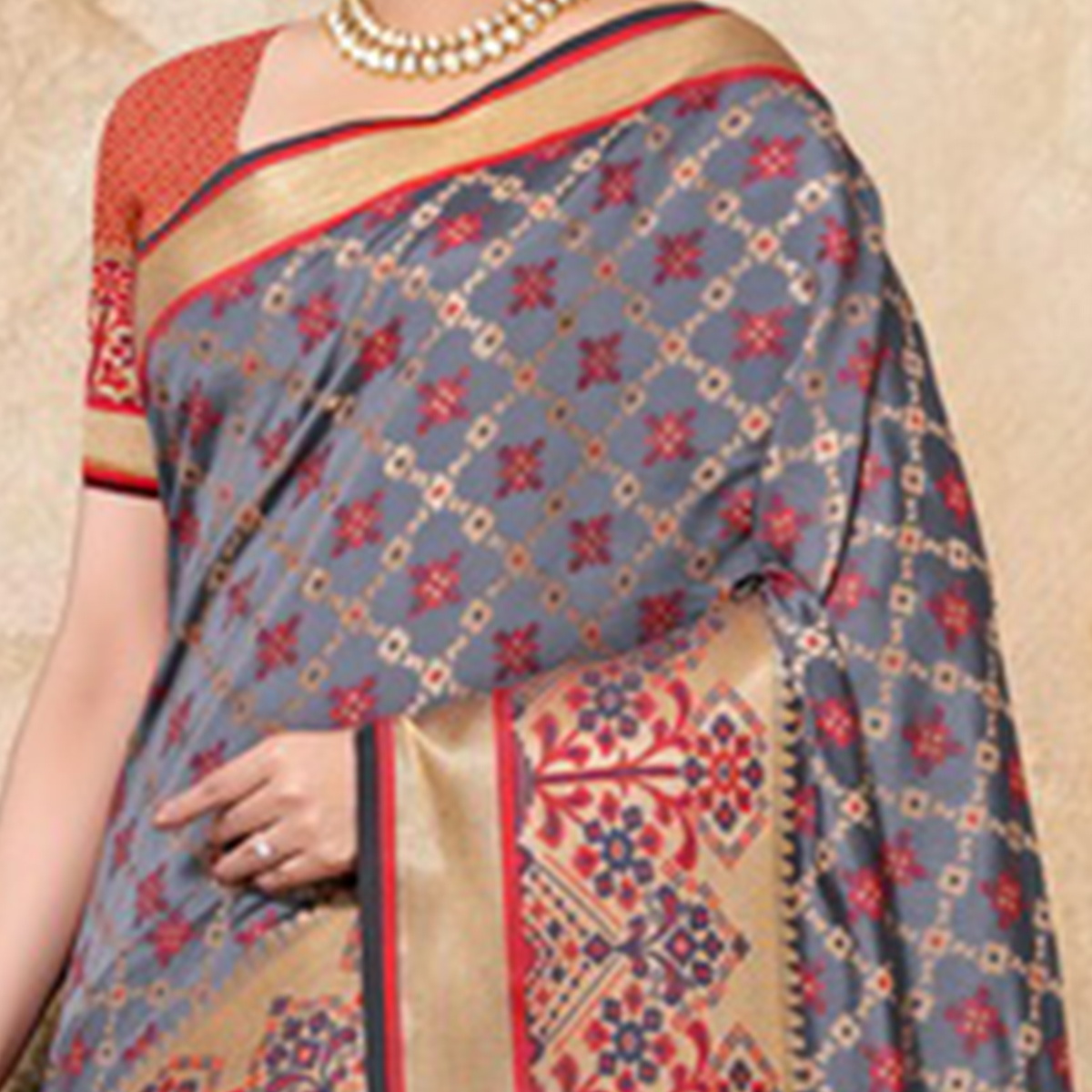 Pleasant Grey Colored Festive Wear Woven Banarasi Silk Saree