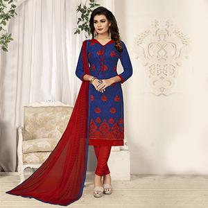 Blue Partywear Designer Embroidered Pure Cotton Dress Material