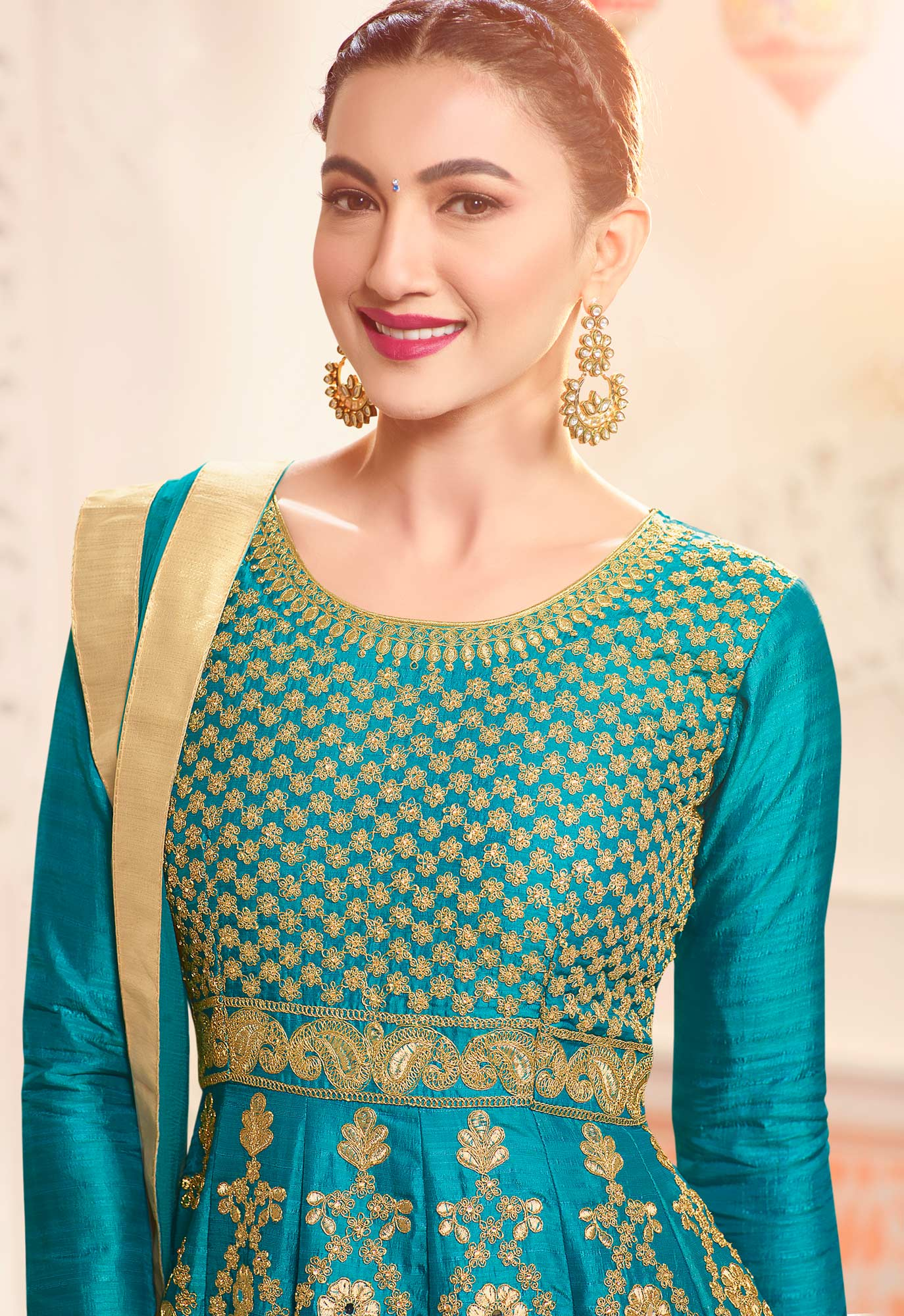 Sky Blue Designer Embroidered Partywear Two Tone Mulberry Silk Abaya Style Anarkali Suit