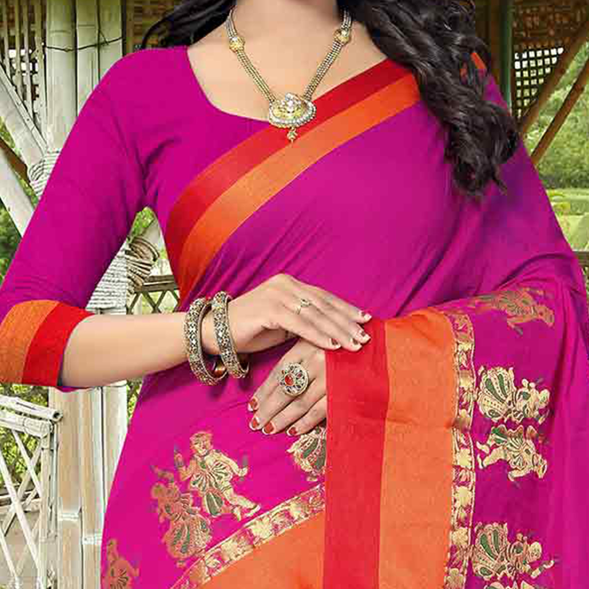 Pink Designer Festive Wear Woven Silk Saree
