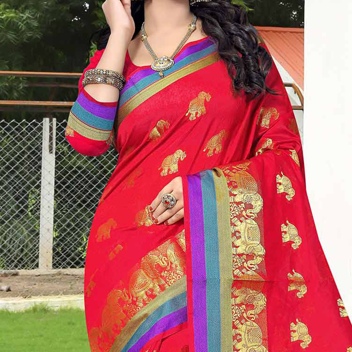 Red Designer Festive Wear Woven Silk Saree