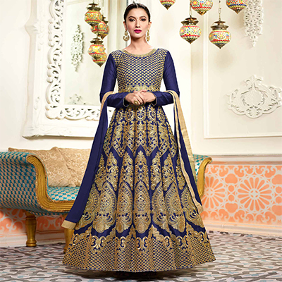 Gorgeous Blue Designer Embroidered Partywear Two Tone Mulberry Silk Abaya Style Anarkali Suit