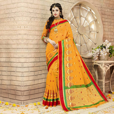 Orange Weaving Work Silk Saree