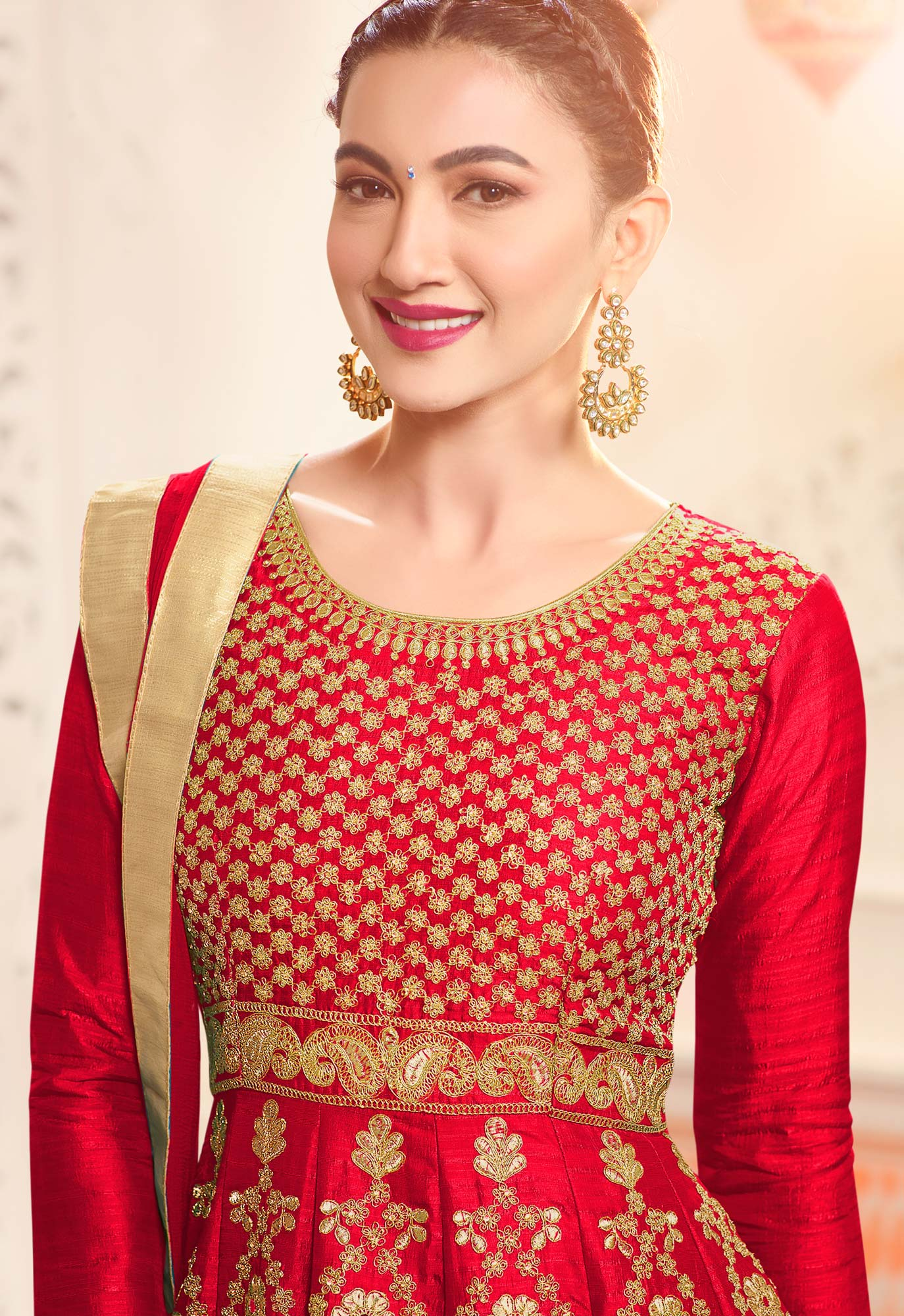 Beautiful Red Designer Embroidered Partywear Two Tone Mulberry Silk Abaya Style Anarkali Suit