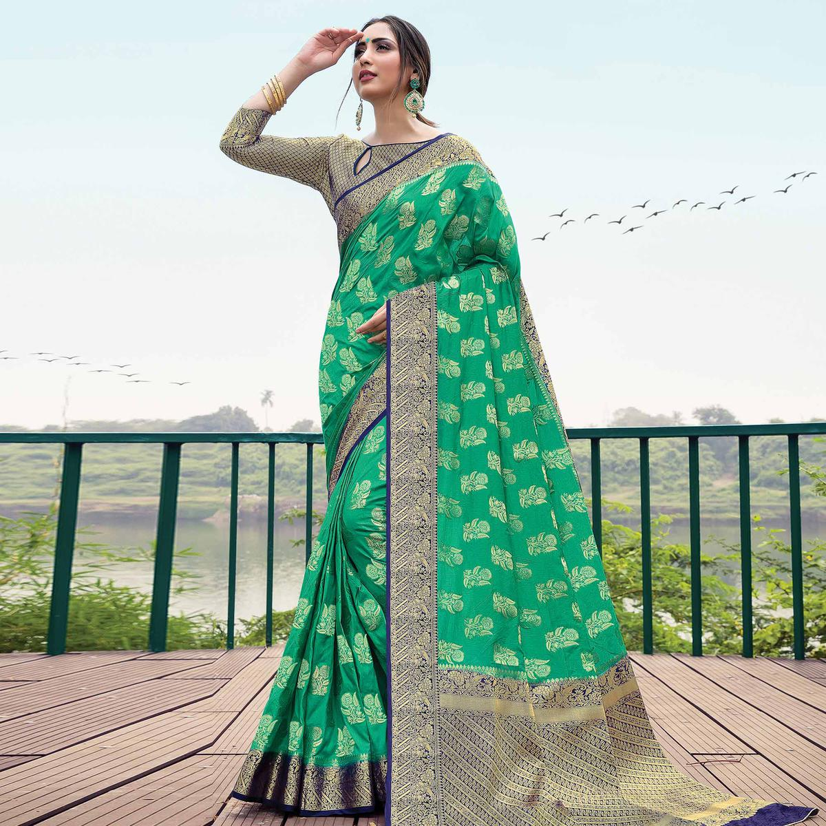 Ravishing Green Colored Festive Wear Woven Nylon Silk Saree
