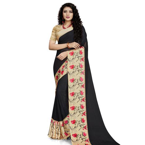 Intricate Black Colored Casual Wear Printed Georgette Saree