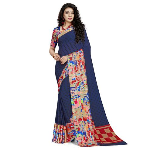 Sophisticated Navy Blue Colored Casual Wear Printed Georgette Saree