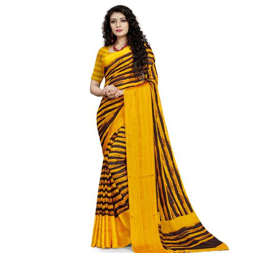 Radiant Yellow Colored Casual Wear Printed Georgette Saree