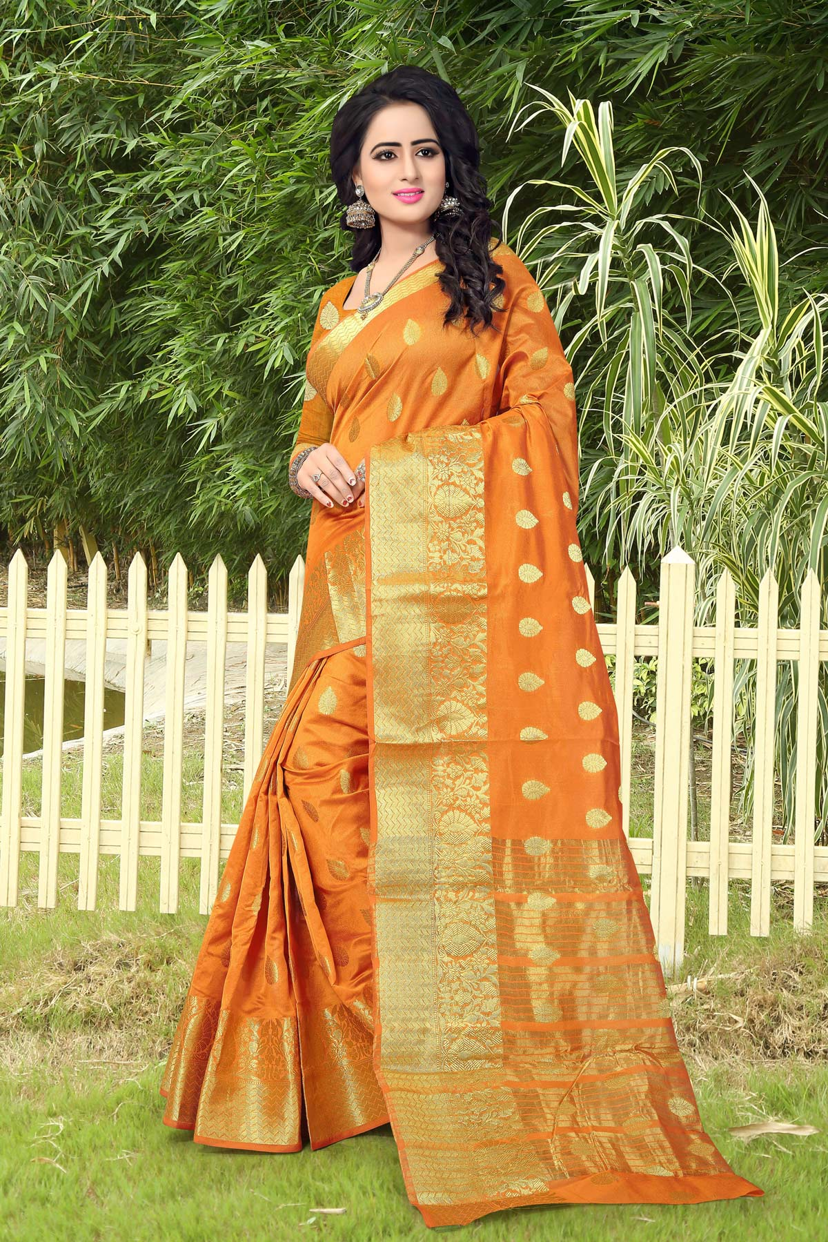 Orange Designer Festive Wear Woven Silk Saree