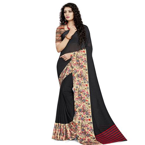 Pleasant Black Colored Casual Wear Printed Georgette Saree