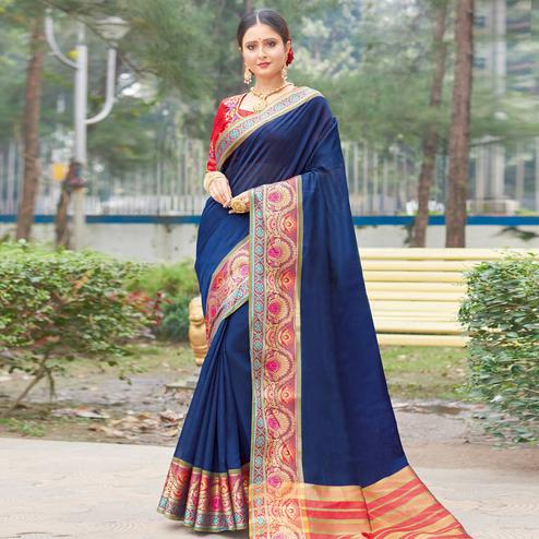 Opulent Navy Blue Colored Festive Wear Woven Handloom Silk Saree