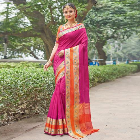 Exceptional Pink Colored Festive Wear Woven Handloom Silk Saree