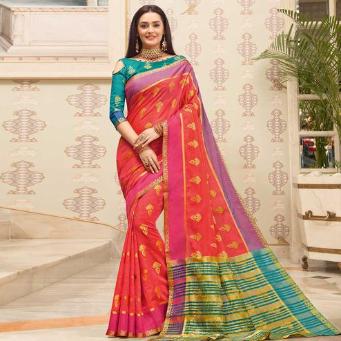 Refreshing Coral Red Colored Festive Wear Woven Cotton Handloom Saree