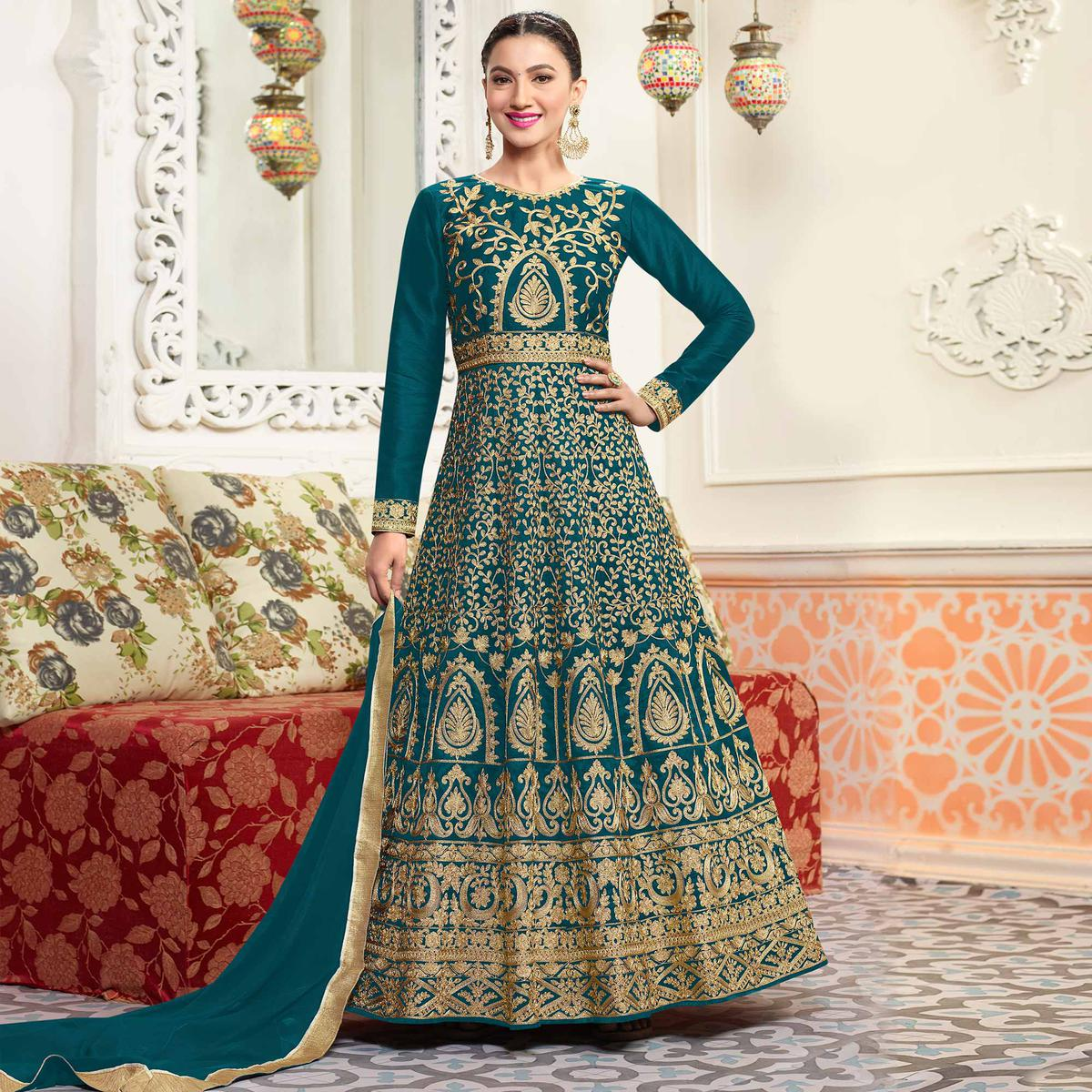 Graceful Green Designer Embroidered Partywear Mulberry Silk Abaya Style Anarkali Suit