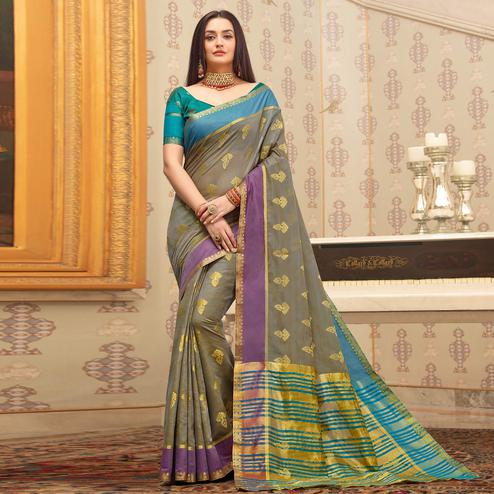Magnetic Grey Colored Festive Wear Woven Cotton Handloom Saree