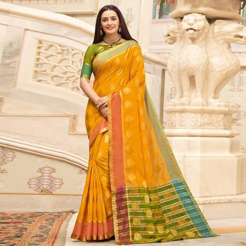 Hypnotic Yellow Colored Festive Wear Woven Cotton Handloom Saree