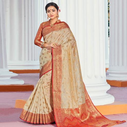 Pretty Cream Colored Festive Wear Woven Handloom Silk Saree