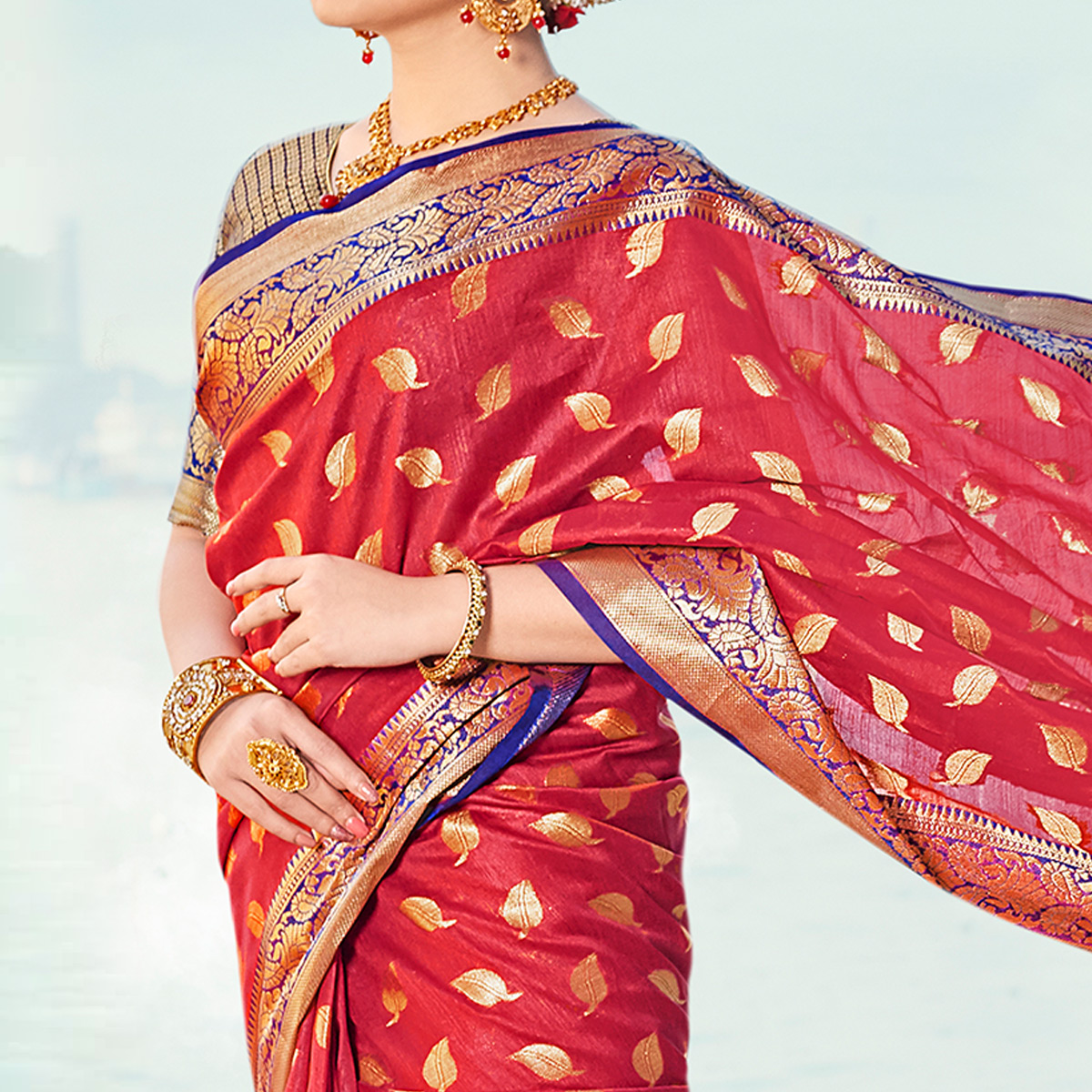 Flaunt Red Colored Festive Wear Woven Handloom Silk Saree