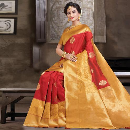 Glorious Red Colored Festive Wear Woven Silk Saree