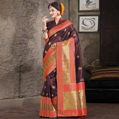 Blooming Coffee Brown Colored Festive Wear Woven Silk Saree
