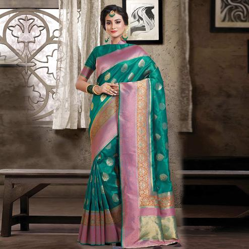 Charming Turquoise Green Colored Festive Wear Woven Silk Saree
