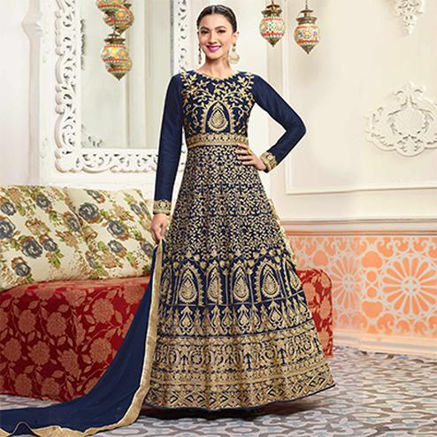 Mesmerising Blue Designer Embroidered Partywear Mulberry Silk Abaya Style Anarkali Suit