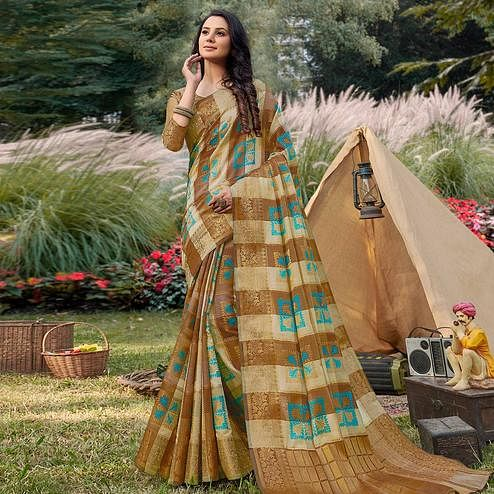 Engrossing Beige - Green Colored Festive Wear Woven Handloom Silk Saree