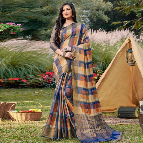 Captivating Beige - Brown Colored Festive Wear Woven Handloom Silk Saree
