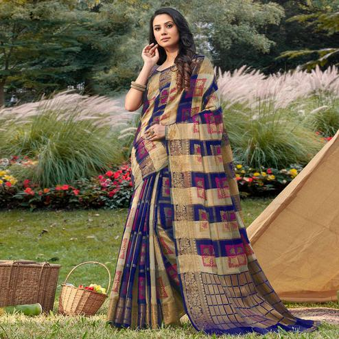 Innovative Beige - Blue Colored Festive Wear Woven Handloom Silk Saree